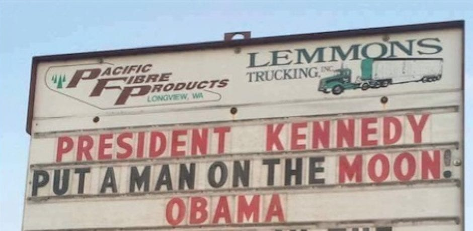 BOOM! BUSINESS OWNER Uses Sign To Compare Legacies Of President Kennedy And Obama…And It's Hilarious
