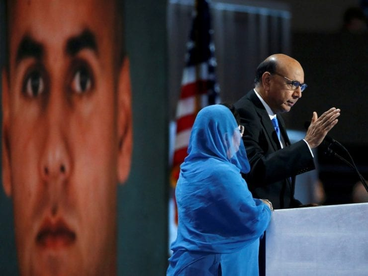 Khizr Khan, who's son Humayun (L) was killed serving in the U.S. Army, speaks at the Democratic National Convention in Philadelphia, Pennsylvania, U.S. July 28, 2016. REUTERS/Lucy Nicholson - RTSK68Q