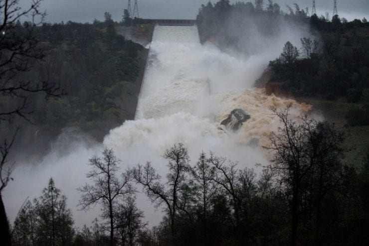 The California Department of Water Resources and host of collaborating agencies continue to monitor the Lake Oroville spillway flows late Thursday afternoon as 35,000 cubic feet per second (cfs) of water was released over the damaged spillway. More erosion is expected, but the releases will help operators absorb the inflow of the storm waters expected Thursday evening and Friday. DWR first noticed erosion on the spillway Tuesday morning and shut off flows to investigate. (Courtesy of the California Department of Water Resources)