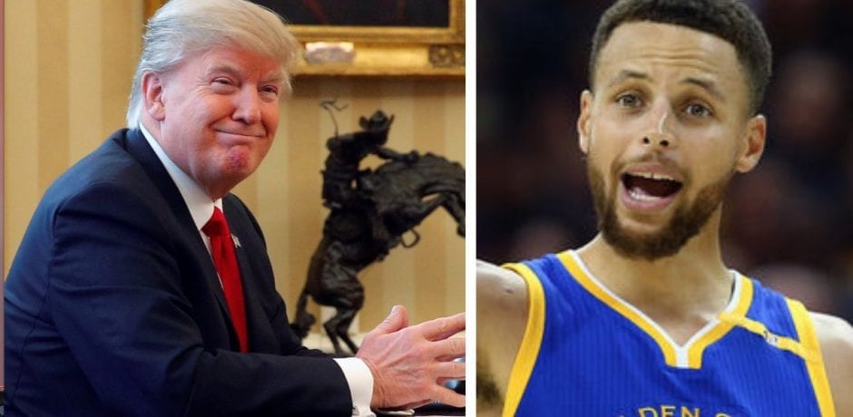 PRESIDENT TRUMP SLAM DUNKS Golden State NBA Punk Stephen Curry Who Bragged About Not Going To White House To Celebrate Championship