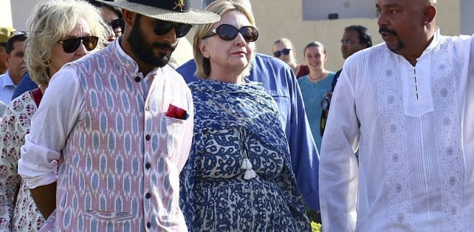 HILLARY HIDES After Fall in Tub Sends Her to Local Hospital…Last Seen in Droopy, Drapey Dress