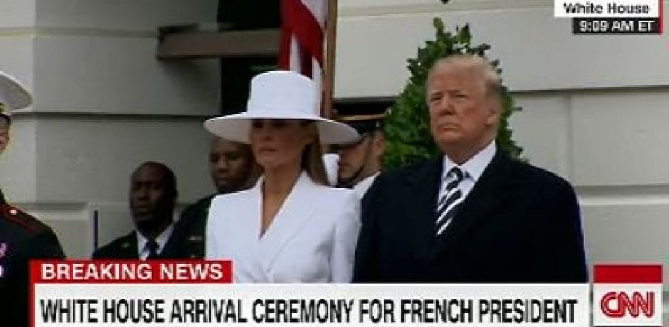TRÈS  CHIC! Melania Stuns In All White With Incredible Chapeau For Arrival Of French President [Video]