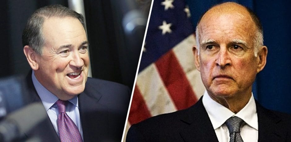 HUCKABEE IN CHARGE!! GOV. MIKE ARRIVES In CALI, Then Drops HILARIOUS STRAW BAN JOKE On Gov. Jerry Brown