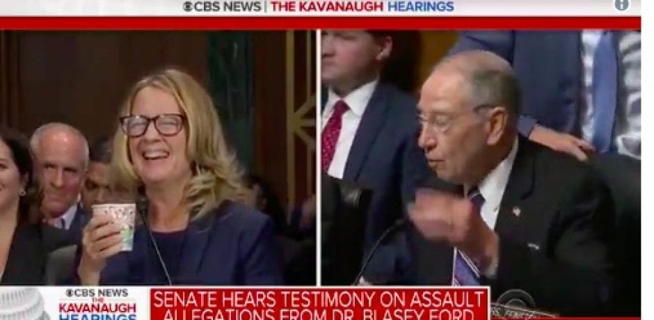 A CIRCUS! Kavanaugh Accuser Giggles And Asks For Coffee…Republicans Give Up Their Chance To Question Ford [Video]