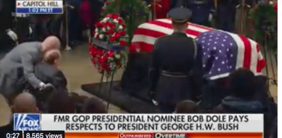 JUST IN: Bob Dole Makes Emotional Visit To Salute George H.W. Bush [Video] #BobDole