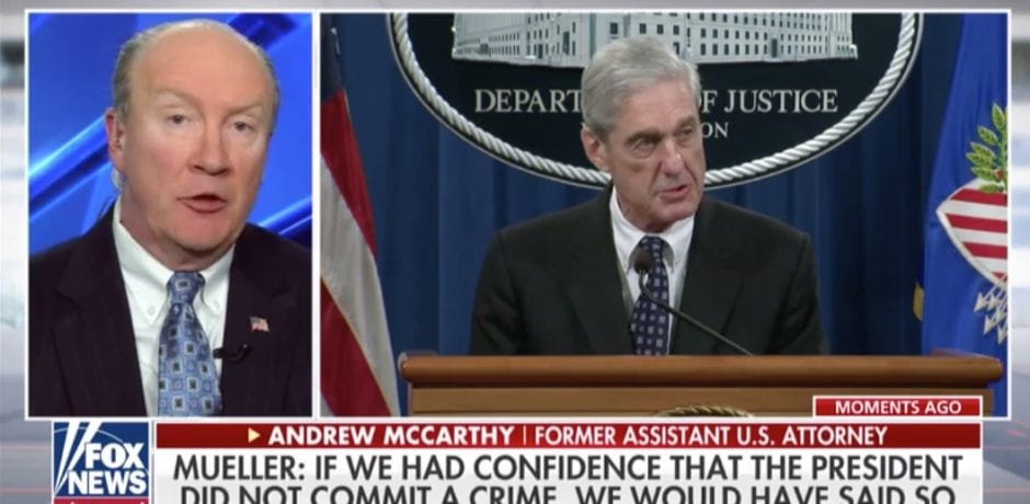"BREAKING: Former US Prosecutor Andy McCarthy Blasts Bob Mueller…""On The Legal Merits, He's Completely Wrong"" [VIDEO]"