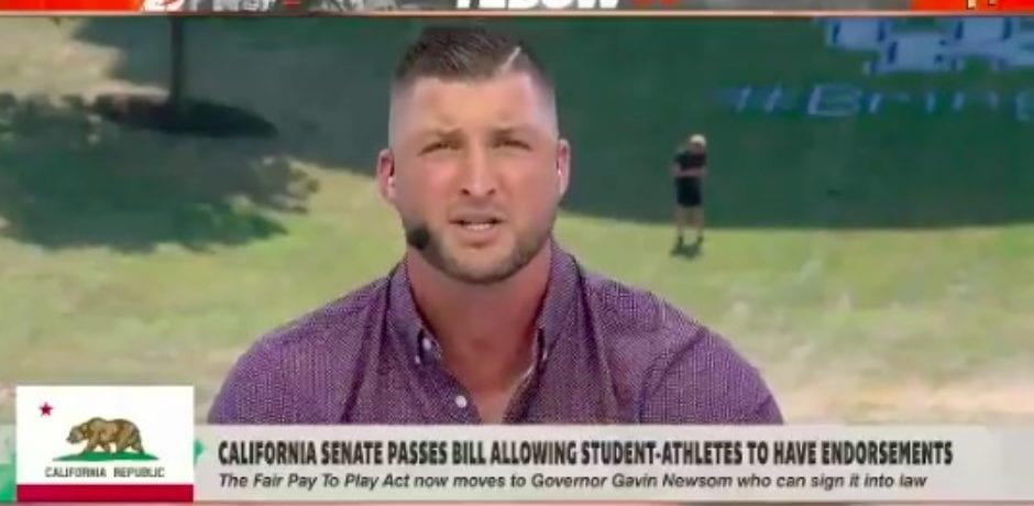 VIDEO: Tim Tebow Rants Against the California Bill That Passed Allowing Student-Athletes to Have Endorsements