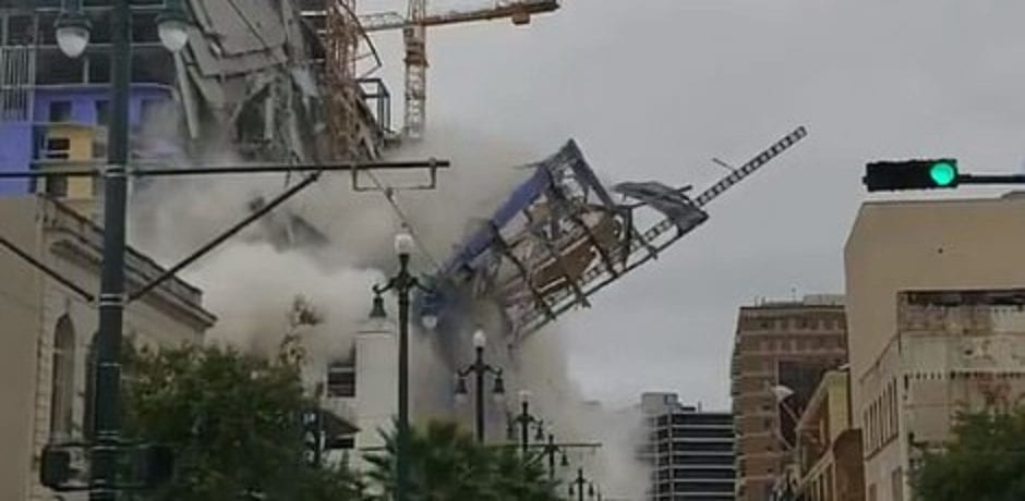 VIDEO: The Moment A Portion Of the New Orleans Hard Rock Hotel Collapses