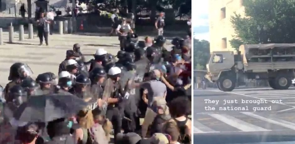 BREAKING: National Guard Rolls Into DC…Violent Protests Erupt In Front Of White House…Barricades Have Fallen On West Side…Secret Service Pushes Back On Crowd