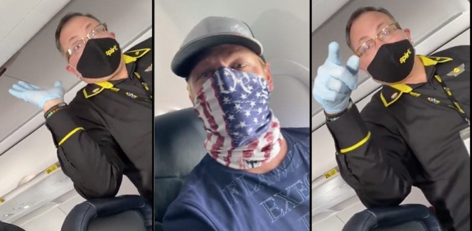 """SPIRIT AIRLINES Flight Attendant Threatens To Have Passenger With Patriotic Face Covering Arrested: """"It is not legal according to the CDC"""" [VIDEO]"""
