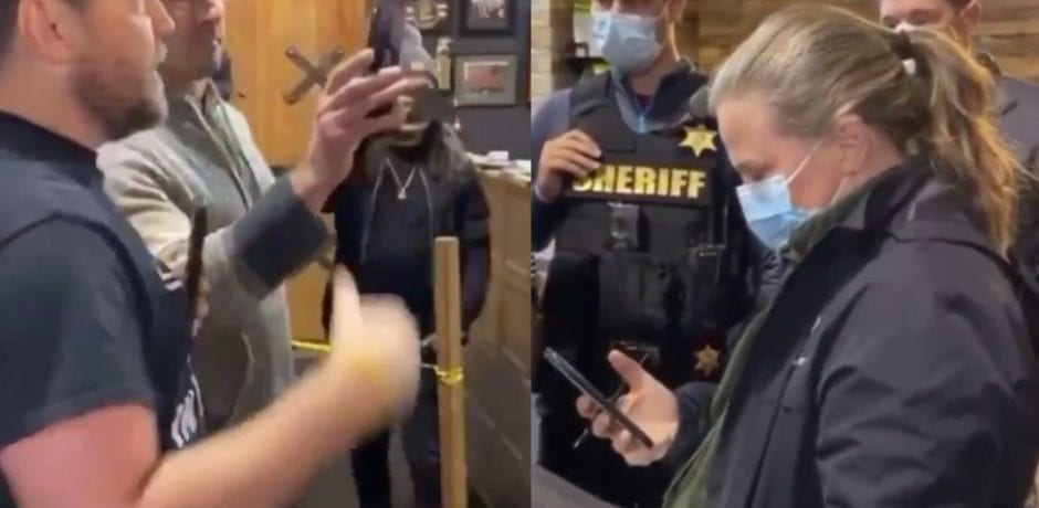 "BOOM! Buffalo Business Owners Force Health Dept Official and Sheriffs Outside Of Private Gym Shut Down Over COVID...Chant: ""Get Out!"" and ""We will not comply!"" [VIDEO]"