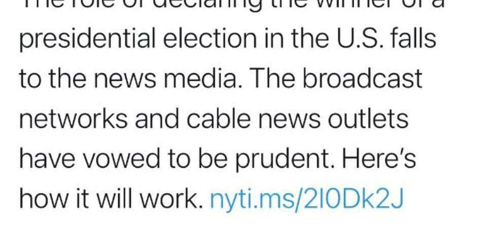 JUST IN: New York Times Tweets Correction After Claiming News Media 'Declares The Winner Of The Election'