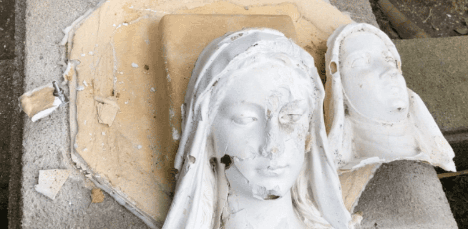 Low Life Vandal Destroys Decades-Old Catholic Statues In Queens New York [VIDEO]